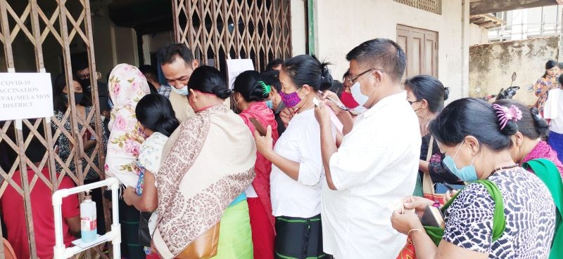 People line up to participate in the vaccination mela held in Mon on April 11.
