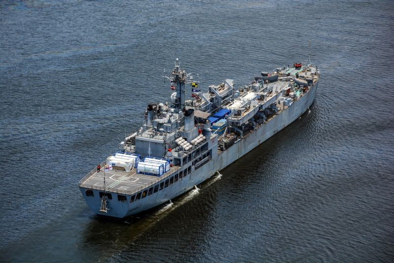 INS Airawat carrying a shipment of 8 Cryogenic Oxygen tanks and other critical COVID medical stores including 3898 Oxygen Cylinders from Singapore as part of Samudra Setu II, arrives in Visakhapatnam on May 10, 2021. (PTI Photo)