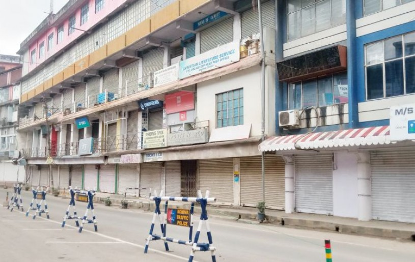 Streets in Nagaland's capital Kohima wore a deserted look on May 6 following the imposition of restriction on movement and activities by the State government. Other normal activities have also been affected from May 5. The seven-day restriction on movement and activities started from 7:00 pm of May 5. (Morung Photo)