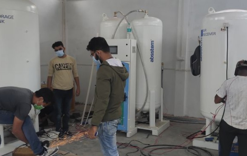 Installation works for PSA Oxygen Generation Plant in full swing at NHAK. (Morung Photo)