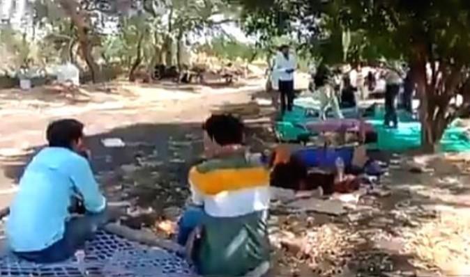 Madhya Pradesh shocker: Patients in fields, IV bottles hang from trees. (IANS Photo)