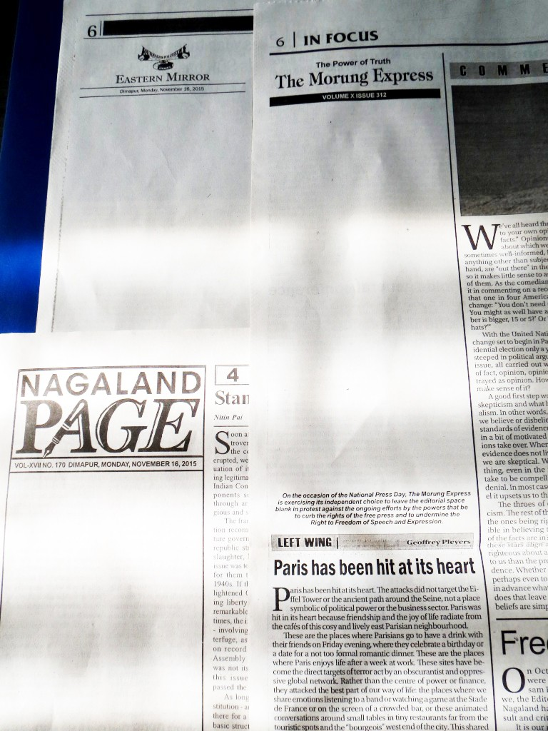 Threats to freedom of press are not unheard of in Nagaland. On November 16, 2015 (National Press Day), newspapers in the State ran blank editorial pages to protest curbs on the freedom of the press. (Morung File Photo)