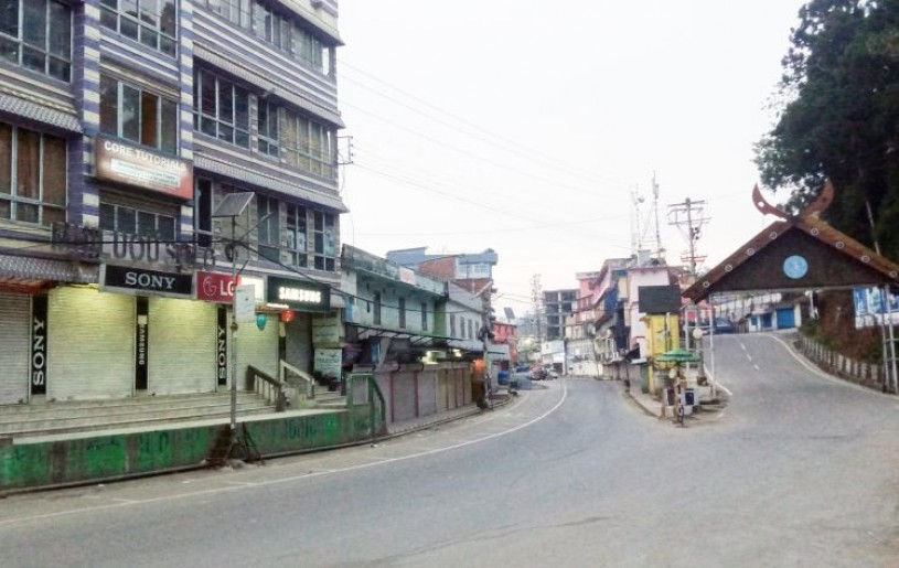 Nagaland's state capital Kohima wears a deserted look on May 9. The seven-day restriction on movement and activities entered the fifth day on Sunday. (Morung Photo)