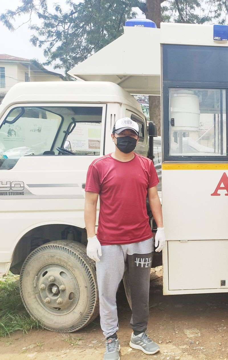 Moamongba, a volunteer for the Free Ambulance Service in Mokokchung. (Morung Photo)