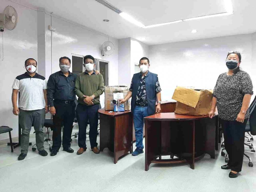 The Kohima Municipal Council (KMC) donates 50 oxygen regulators and 45 spanners to Naga Hospital Authority (NHA), Kohima on June 11.