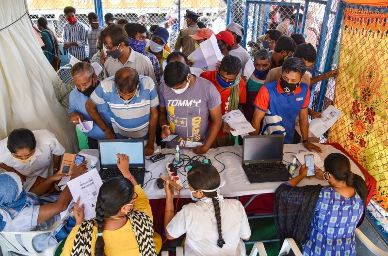 Secunderabad: People wait for vaccination against COVID-19 at a vaccination centre at Bowenpally in Secunderabad, Tuesday, June 1, 2021. (PTI Photo)