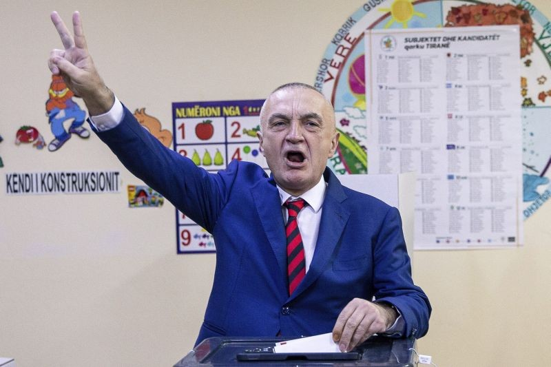 In this Sunday, April 25, 2021, Albanian president Ilir Meta flashes victory sign as he casts his vote during parliamentary elections in Tirana, Albania. The Albanian Parliament on June 9, 2021 impeached President Ilir Meta for violating the constitution and discharged him from the post. In an extraordinary session the parliament voted 104-7 to discharge the president. (AP/PTI File Photo)