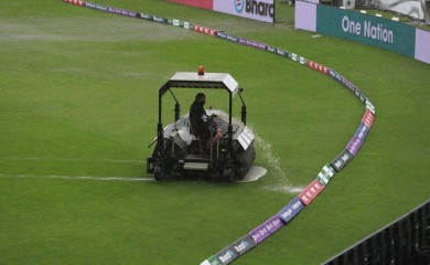 Southampton:  A super sopper is used to remove water after rain delayed start of the first day of the World Test Championship final cricket match between New Zealand and India, at the Ageas Bowl in Southampton, England, Friday, June 18, 2021.AP/PTI