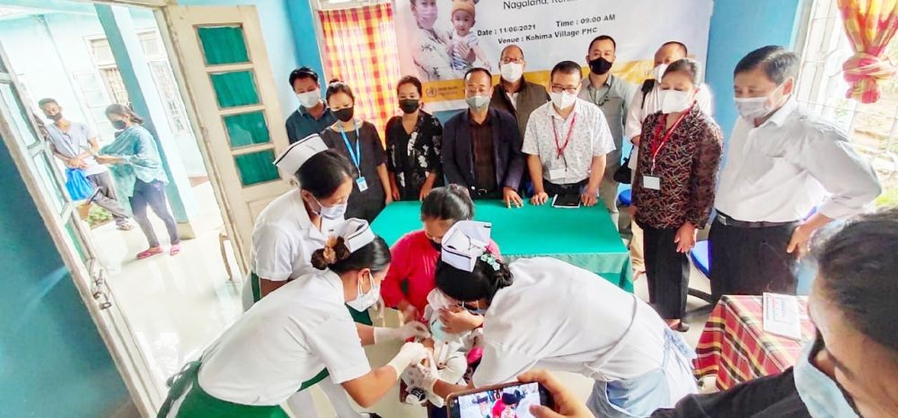 Principal Director, Health and Family Welfare, Dr Neikhrielie Khimiao launched the Pneumococcal Conjugate Vaccine (PCV) at Primary Health Centre, Kohima Village on June 11. (Morung Photo)