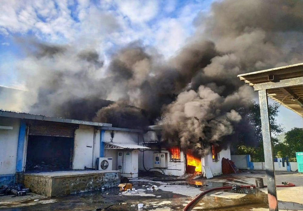 Pune: A fire breaks out at a factory at Ghotawade Phata in Pune, Monday, June 7, 2021. At least 7 people have died and over 10 are missing. (PTI Photo)