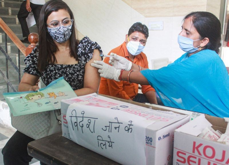 Gurugram: A beneficiary receives a dose of COVID-19 vaccine during a vaccination camp for students and citizens undertaking international travel for education and job, at a polyclinic in Gurugram, Thursday, June 17, 2021. (PTI Photo)