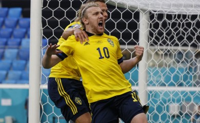 St. Petersburg: Sweden's Emil Forsberg celebrates after scoring his side's opening goal during the Euro 2020 soccer championship group E match between Sweden and Slovakia, at the Saint Petersburg stadium, in Saint Petersburg, Russia, Friday, June 18, 2021. AP/PTI