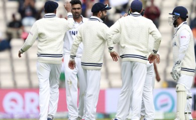 Southampton : India's Ravichandran Ashwin, second left, celebrates with teammates the dismissal of New Zealand's Neil Wagner during the fifth day of the World Test Championship final cricket match between New Zealand and India, at the Rose Bowl in Southampton, England, Tuesday, June 22, 2021. AP/PTI
