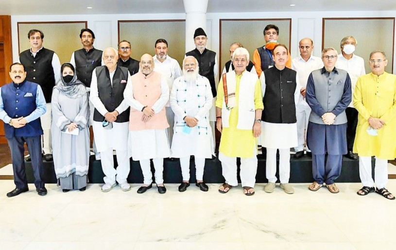 Prime Minister Narendra Modi during an all-party meeting with various political leaders from Jammu and Kashmir, in Delhi on June 24. (PTI Photo)