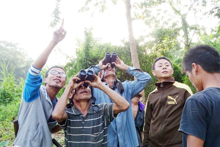 Community volunteers observing avian life at the Yaongyimchen Community Biodiversity Conservation Area. (Photo Courtesy: Y Nuklu Phom)
