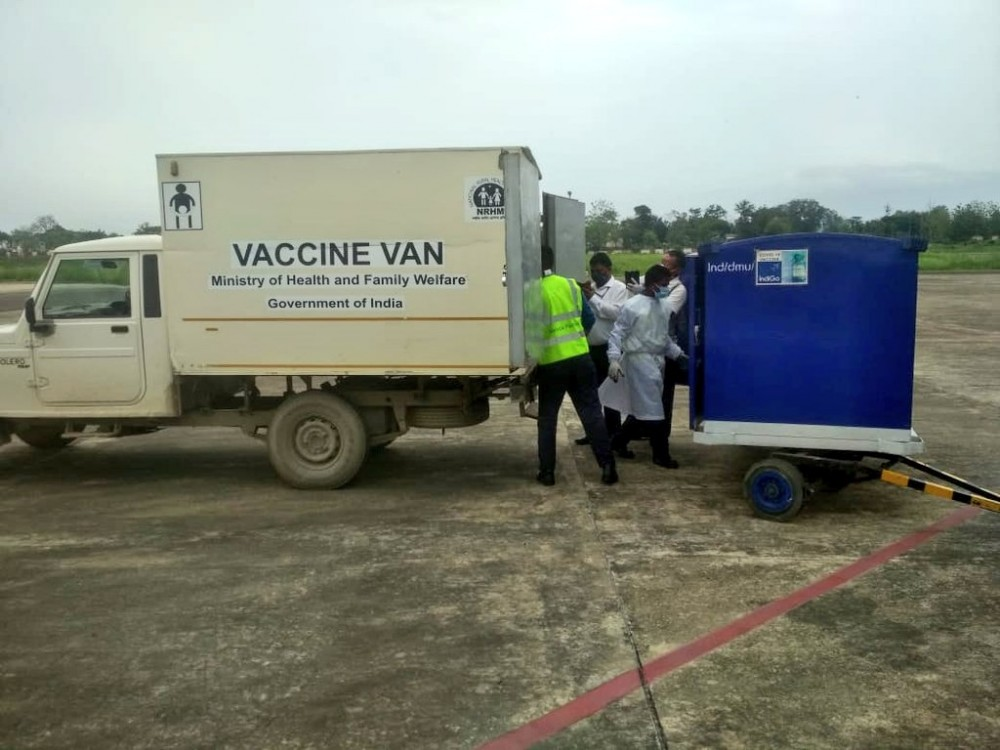 COVID-19 vaccines arrive at Dimapur Airport on June 11. (Photo Courtesy: @aairedner/Twitter)