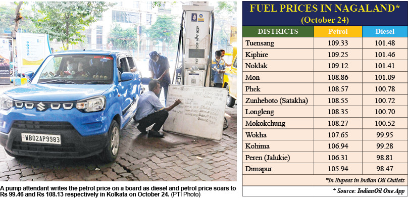 Nagaland: Fuel prices hit new record levels after 5th straight day hike