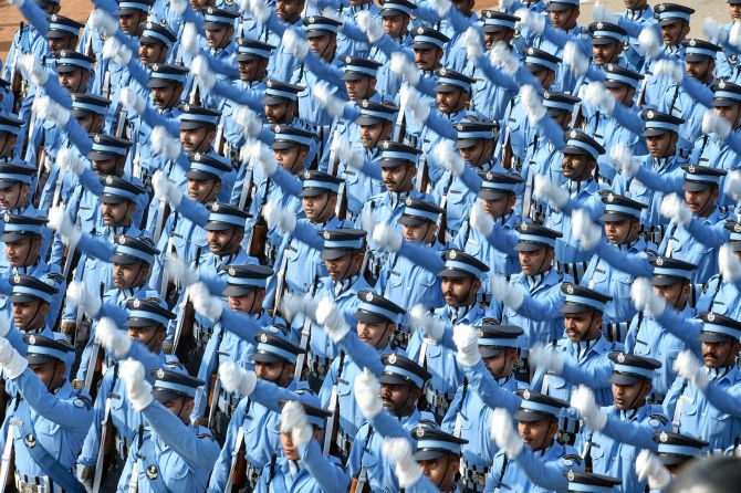 Indian Air Force (IAF) contingent marches during the 71st Republic Day Parade at Rajpath, in New Delhi, Sunday, Jan. 26, 2020. (PTI Photo/Arun Sharma) (PTI1_26_2020_000158B)