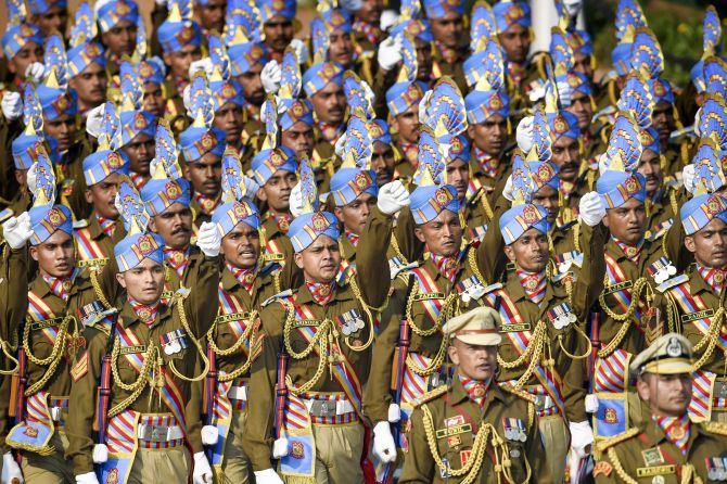 Central Reserve Police Force (CRPF) contingent marches during the 71st Republic Day Parade at Rajpath, in New Delhi, Sunday, Jan. 26, 2020. (PTI Photo/Kamal Singh)