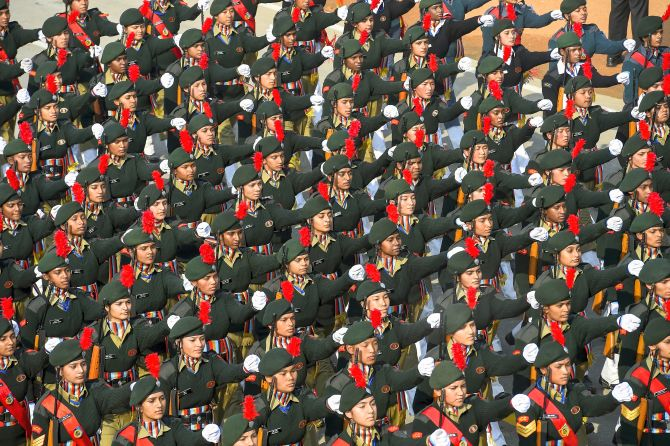 National Cadet Corps (NCC) contingent marches during the 71st Republic Day Parade at Rajpath, in New Delhi, Sunday, Jan. 26, 2020. (PTI Photo/Kamal Singh)